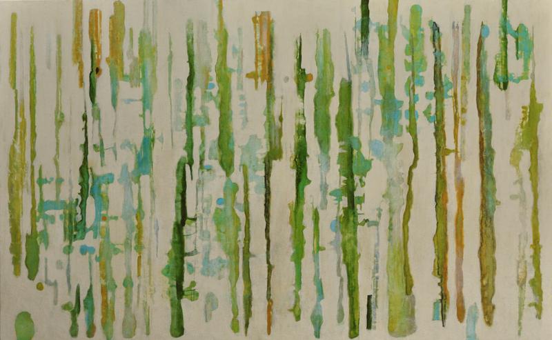 Lumenis 7, encaustic monotype and acrylic glazes on panel, 32x52