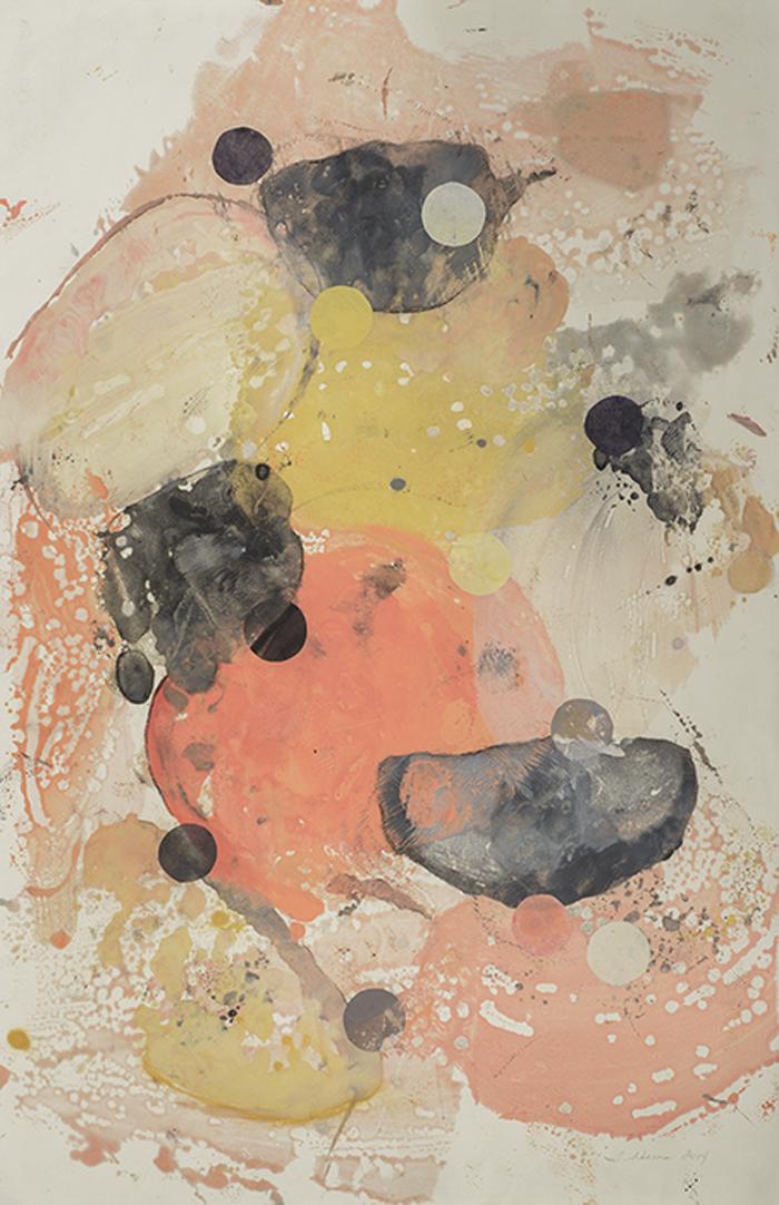 Benthic Revolution 3, encaustic and collage on Mitsumata, 40x26, 2014
