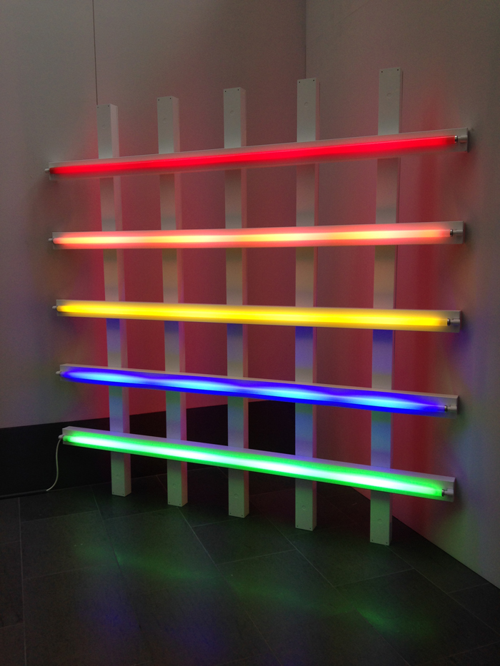 Dan Flavin, untitled, 1987 red, pink, yellow, blue and green fluorescent light