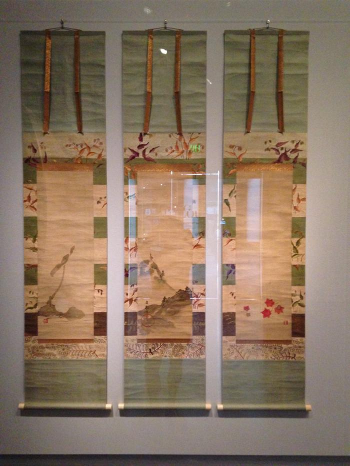 Lotus, deer, and maple leaves, 1800-50, School of Sakai Hoitsu, set of 3 hanging scrolls, ink and colors on silk