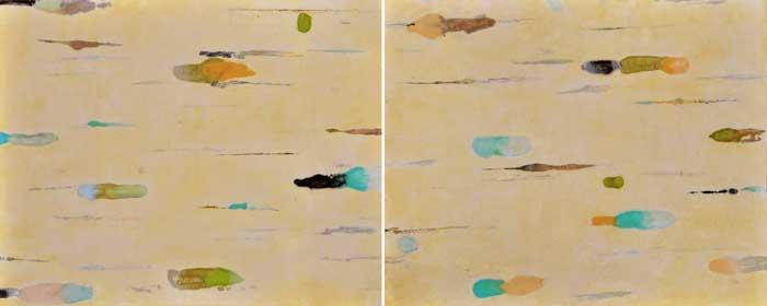 Lumenis 18, encaustic monotype and acrylic glazes on panel, 16x40