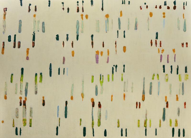 Lumenis 9, 39x54, encaustic monotype and acrylic glazes on panel.